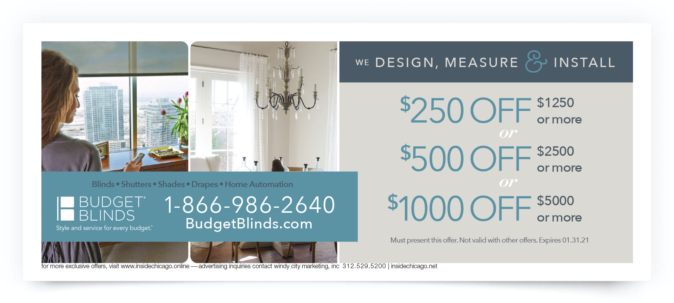 Budget Blinds Chicago Coupon Offer