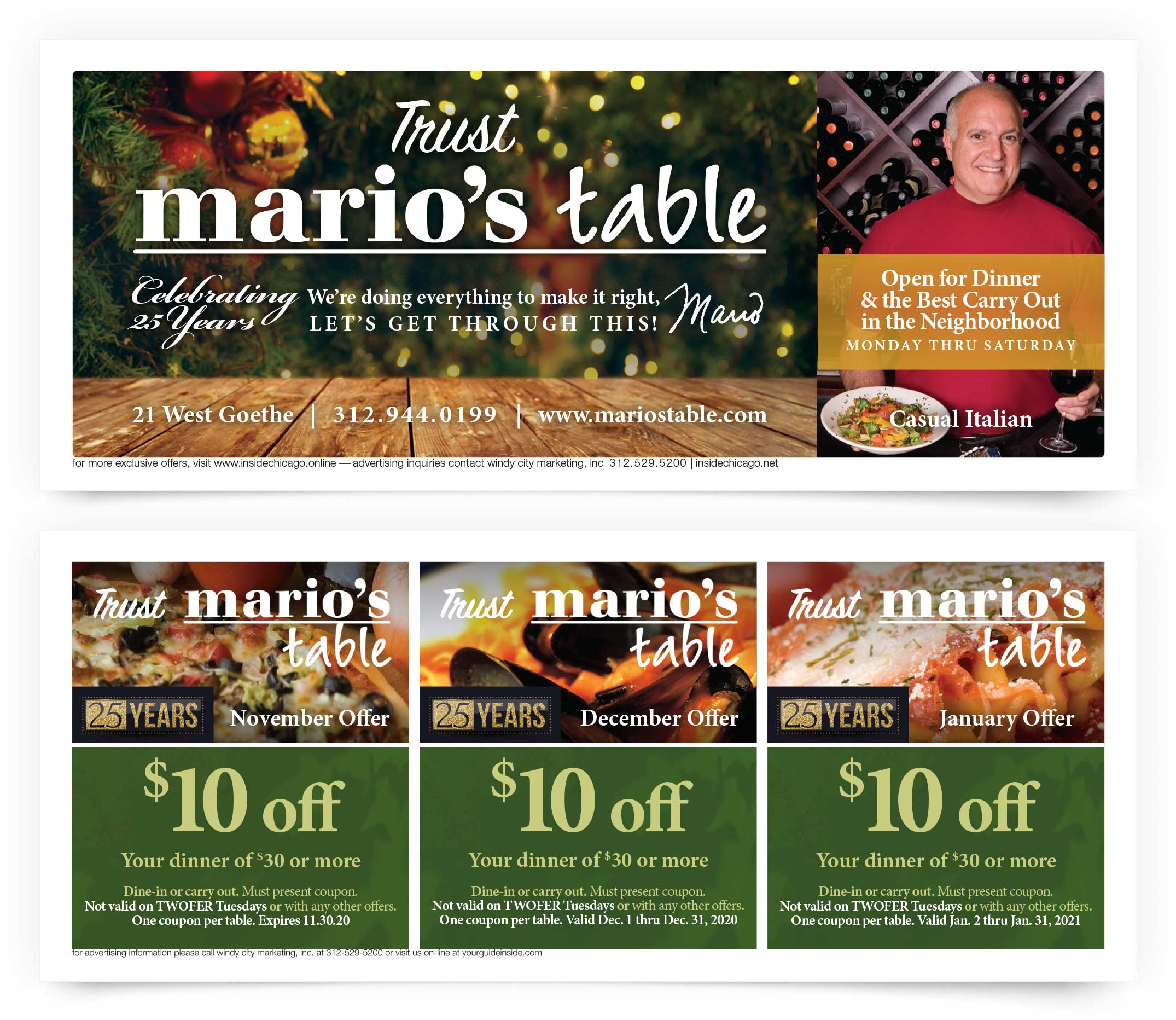 Mario's Table Chicago Coupons