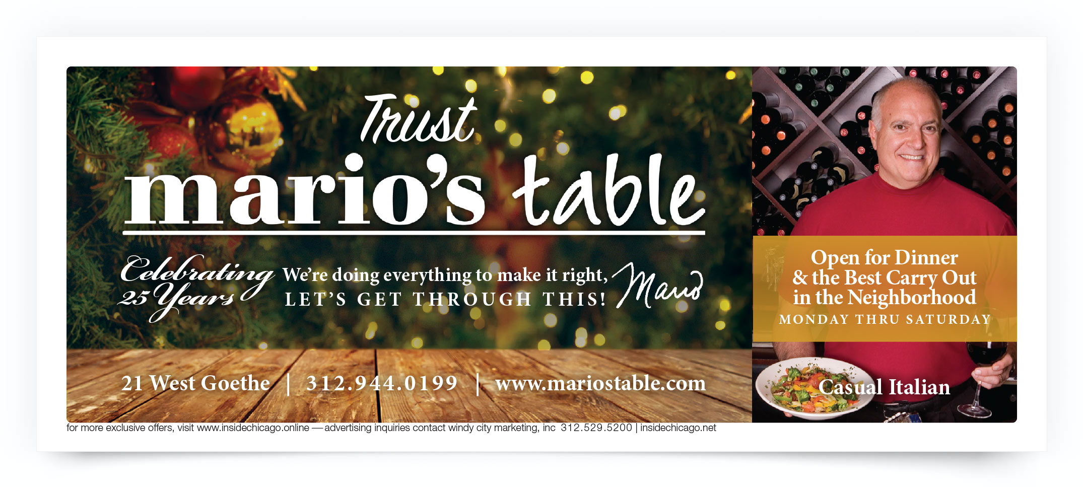 Mario's Table Chicago Coupon Intro