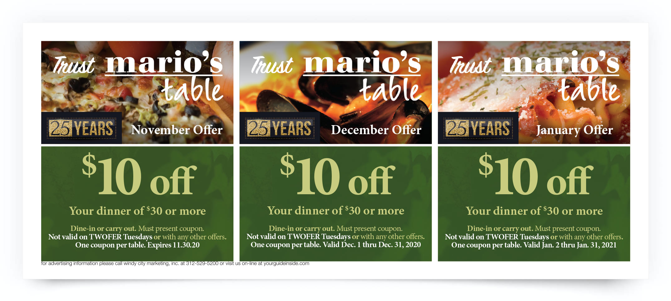 Marios Table Chicago Coupon Offer