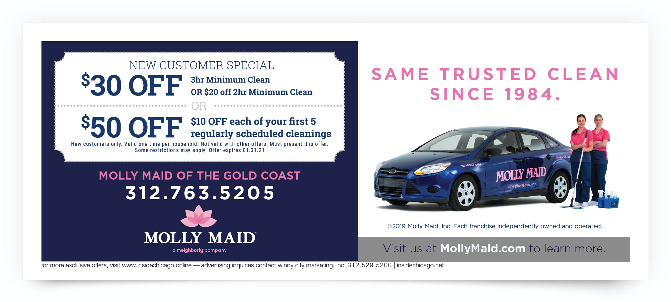 Molly Maid of the Gold Coast Chicago Coupon Offer