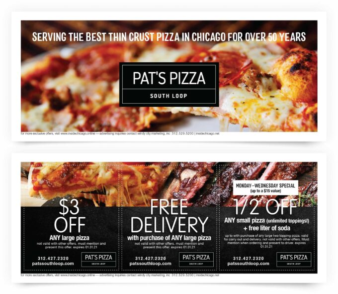 Pat's Pizza South Loop Chicago Coupons
