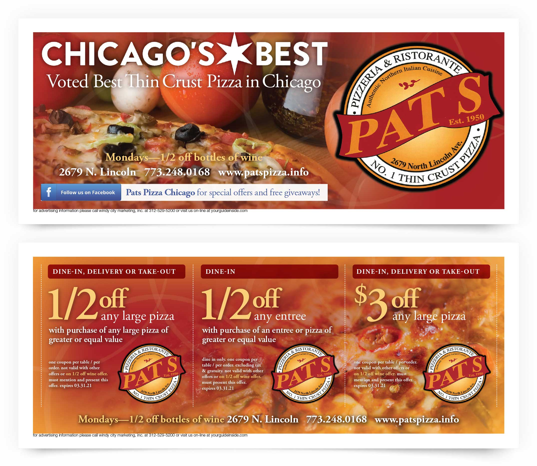 Pats Pizza on Lincoln Coupons